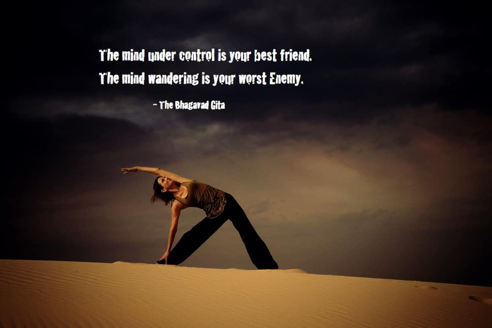 Yoga image with caption alluding to how dark losing control of the mind can be.